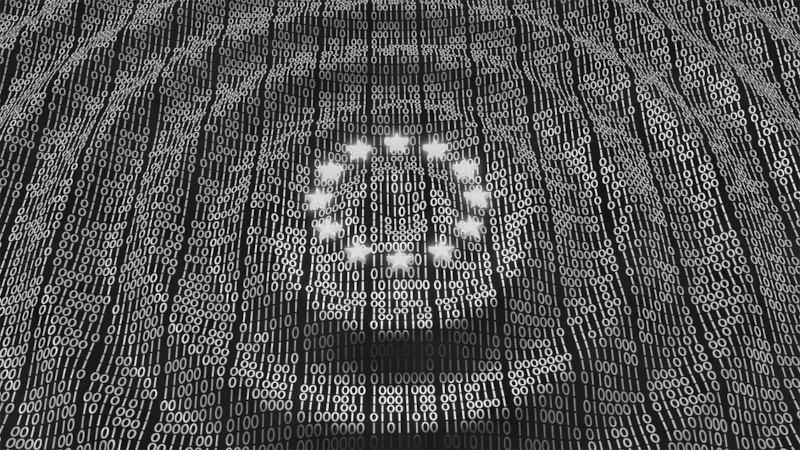 Europäische Union Flagge mit 01 Computer gemacht